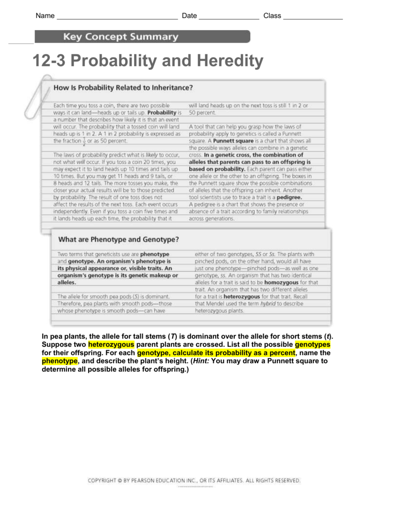 12-3 Probability and Heredity Understanding Main