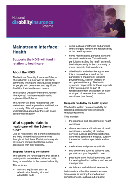 Fact sheet: Supports the NDIS will fund in relation to healthcare