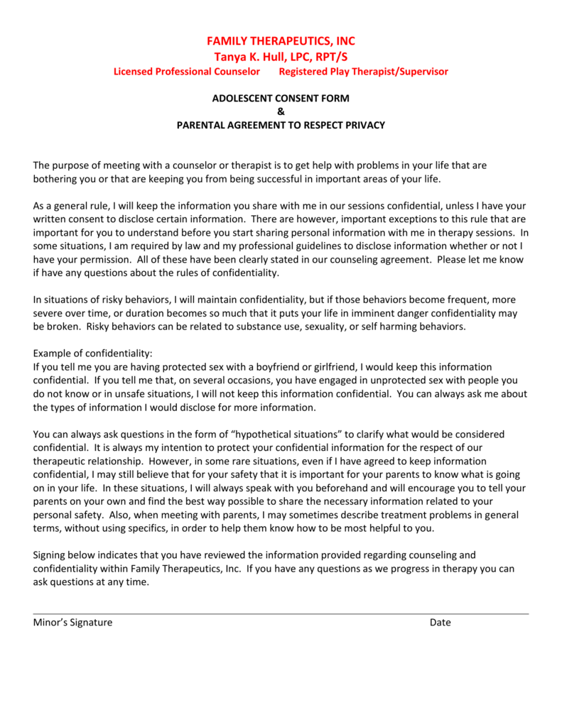 Adolescent Confidentiality Agreement