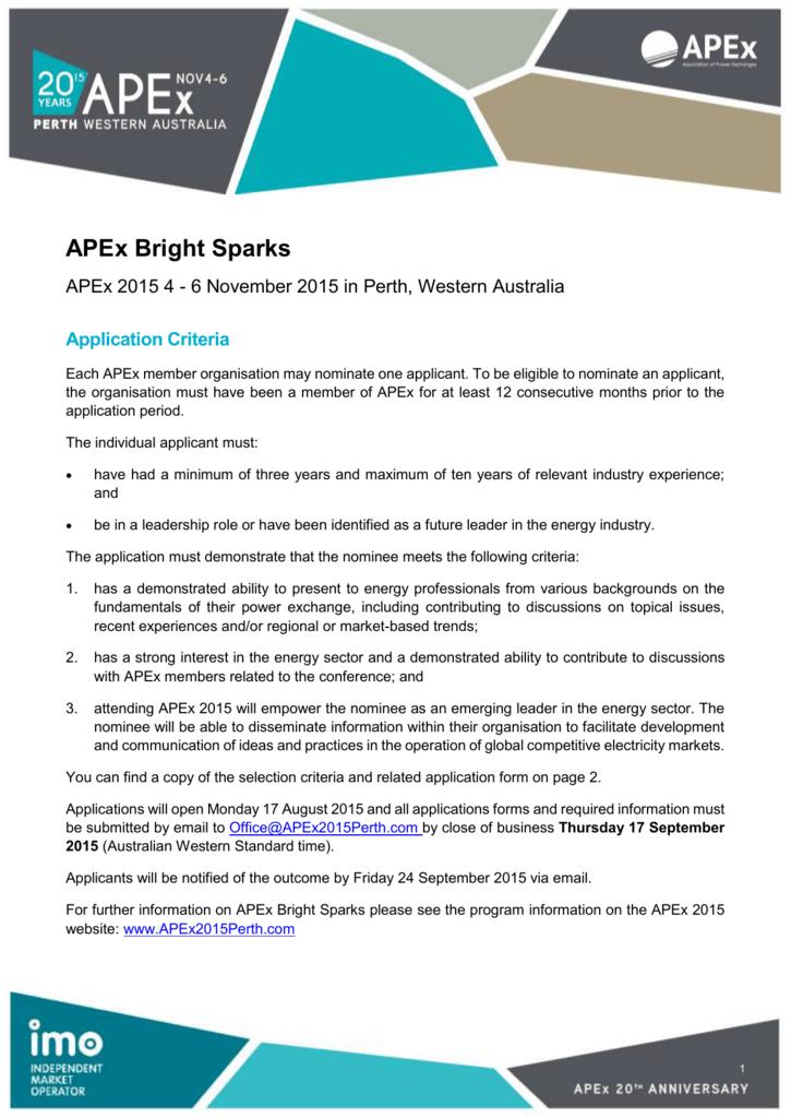 APEx Bright Sparks Application Form