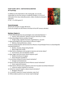 STUDY GUIDE: UNIT 8 – MOTIVATION & EMOTION AP Psychology