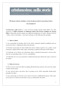 Publication ethics and publication malpractice statement