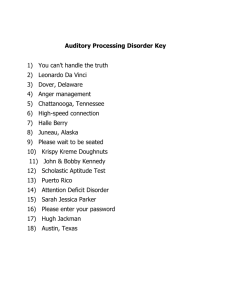 Auditory Processing Disorder Key