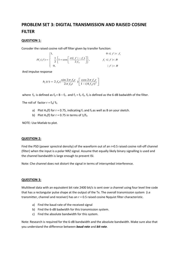 problem set 3: digital transmission and raised cosine filter