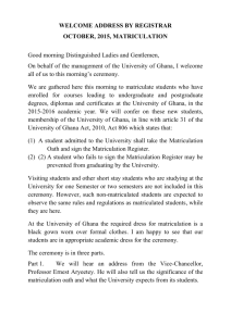 Statement of Welcome by Registrar