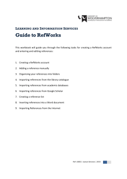 LS002 Guide to RefWorks - University of Wolverhampton
