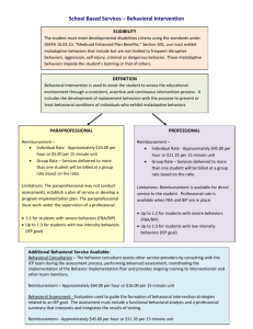 School Based Services – Behavioral Intervention Chart