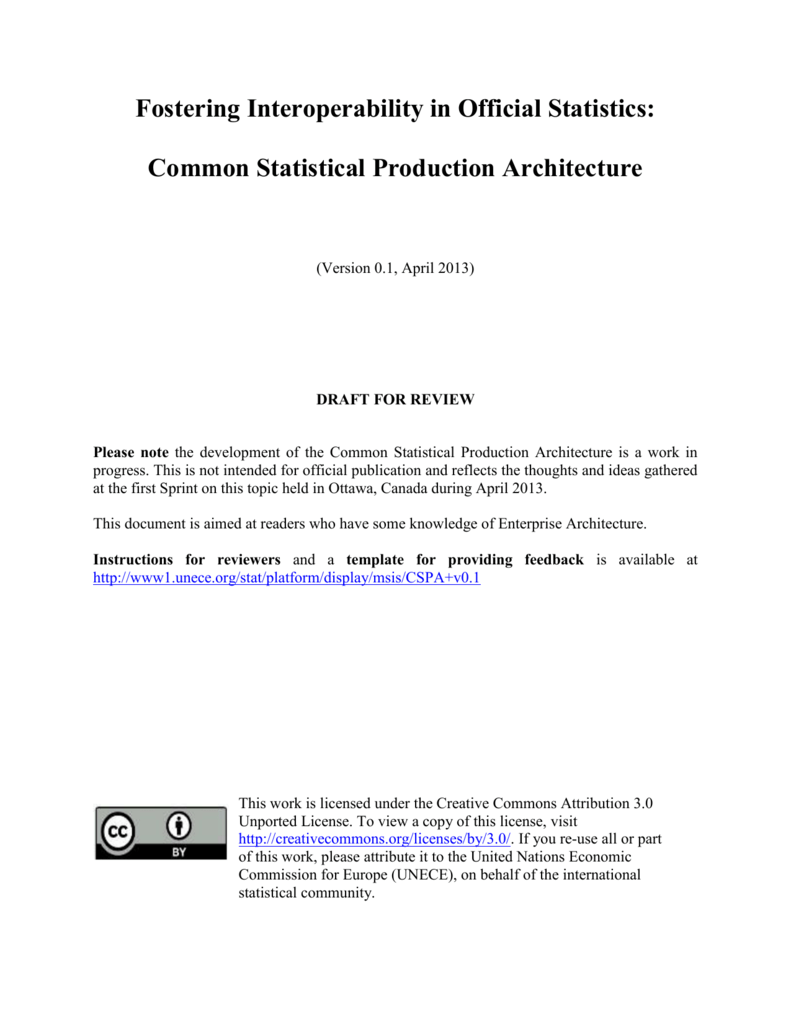II  Common Statistical Production Architecture