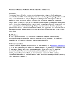 Postdoctoral Research Position in Statistical Genetics and