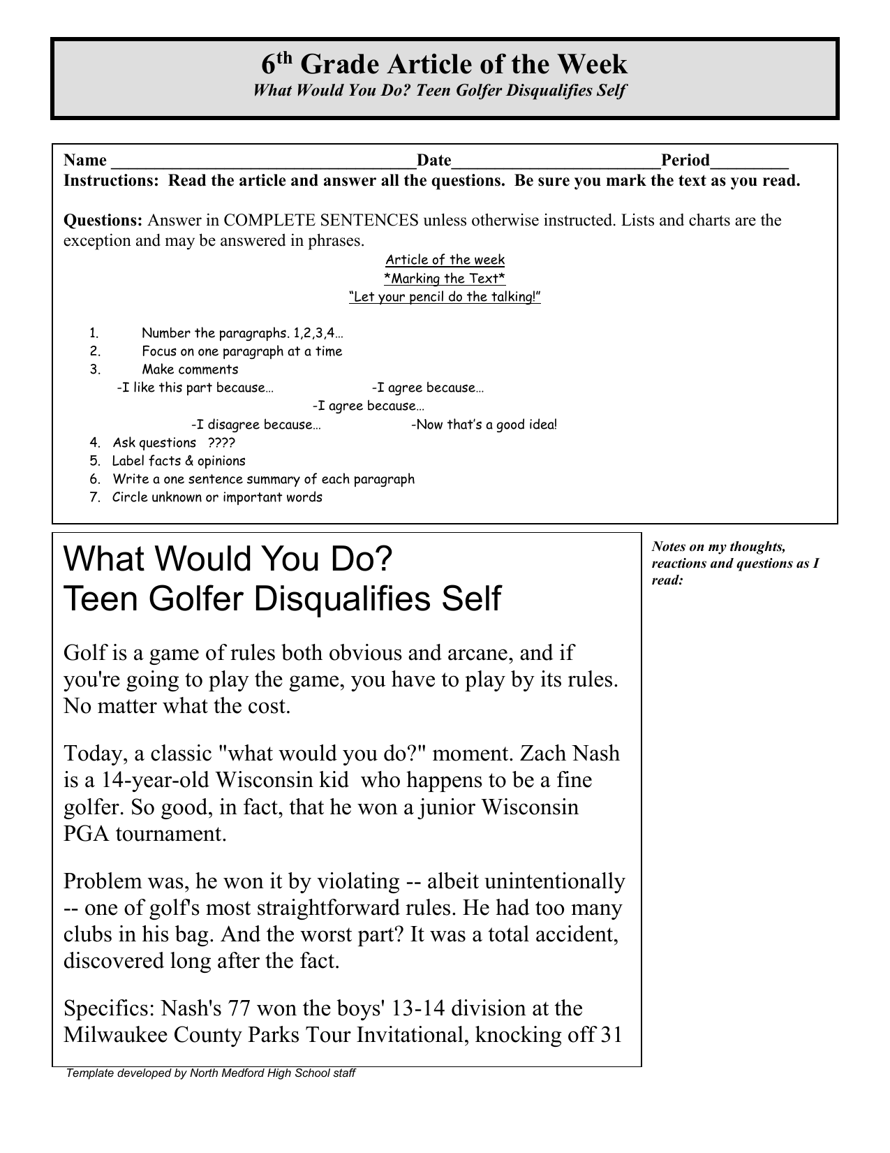 6 th Grade Article of the Week