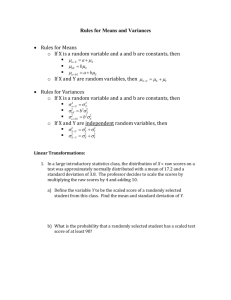 Rules for Means and Variances of a Linear