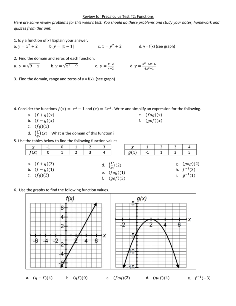 Review for Precalculus Test #2: Functions Here are some review