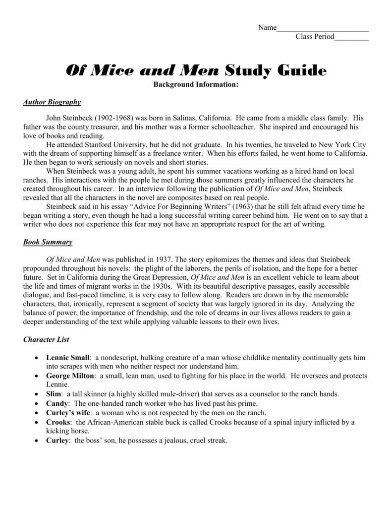 Of Mice And Men Study Guide Questions  Reviews On Custom Writing also What Is The Thesis Of A Research Essay  Reflection Paper Essay