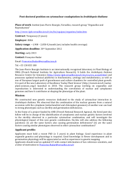 Post-doctoral position on cytonuclear coadaptation in Arabidopsis