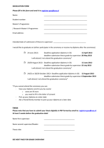 GRADUATION FORM Please fill in this form and send it to registrar