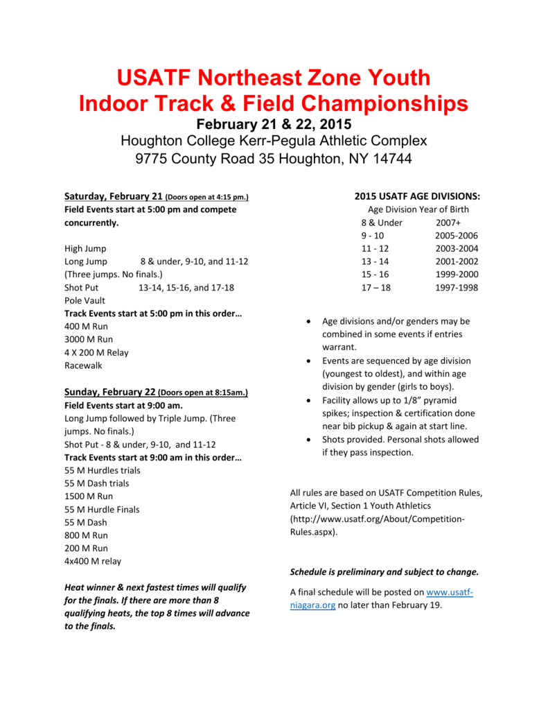 Usatf Northeast Zone Youth Indoor Track Field Championships