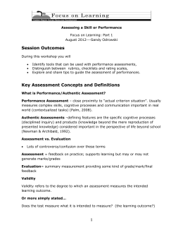 Assess a Skill or Performance – Student Handout