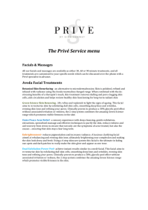 The Privé Service menu Facials & Massages