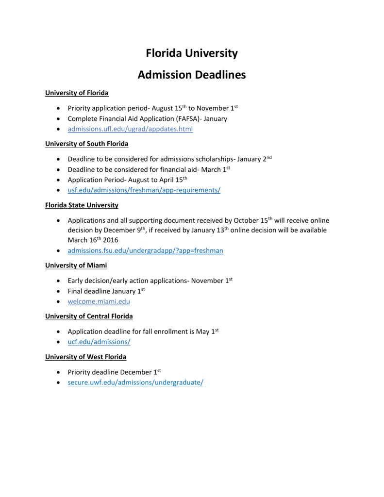 Florida University Deadlines