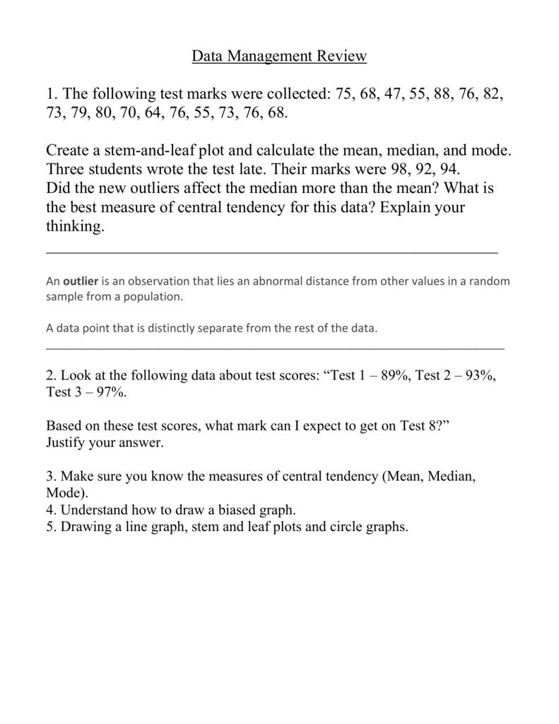 Stem And Leaf Plot Worksheet Calculating Data Average And Median