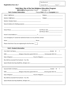 St. Mary Registration Form