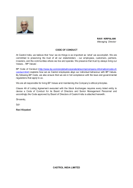 RAVI KIRPALANI Managing Director CODE OF CONDUCT At