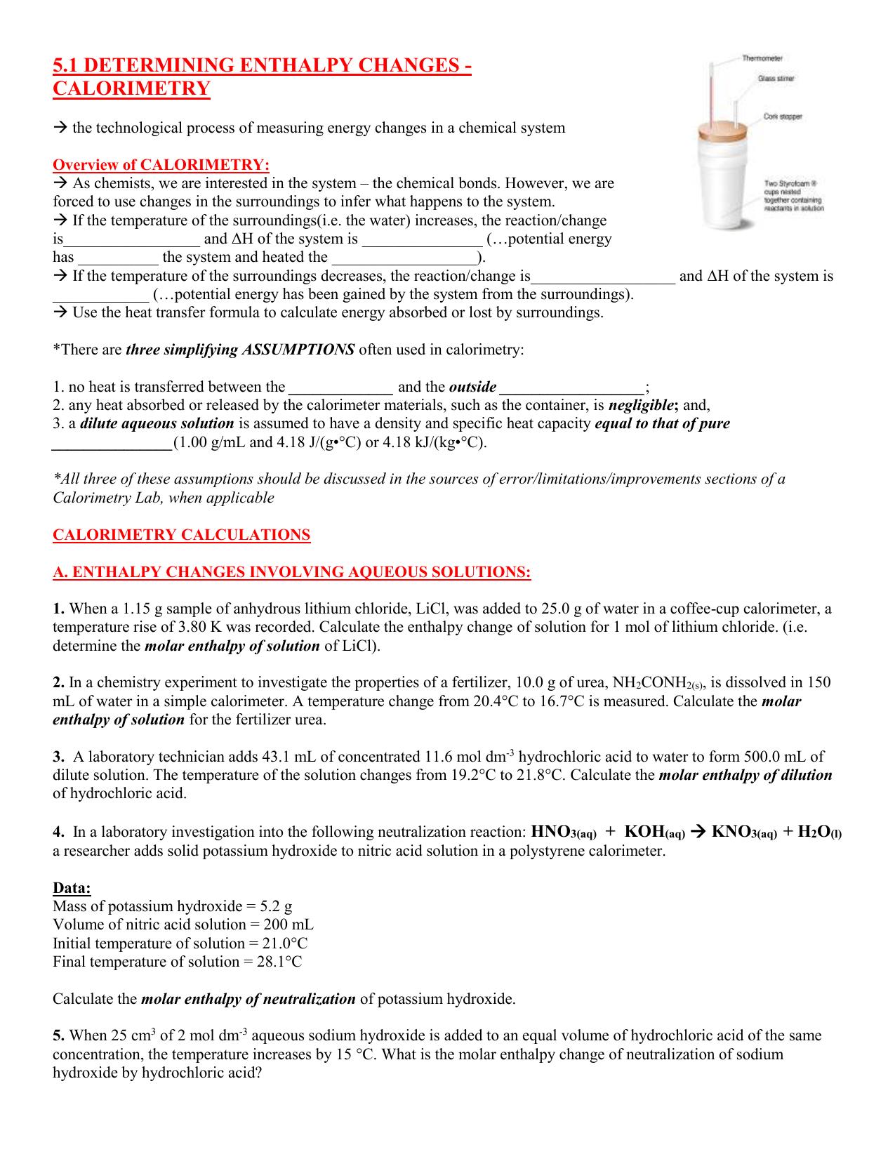 Coffee cup calorimeter problems - Coffee Cup Calorimeter Problems 33
