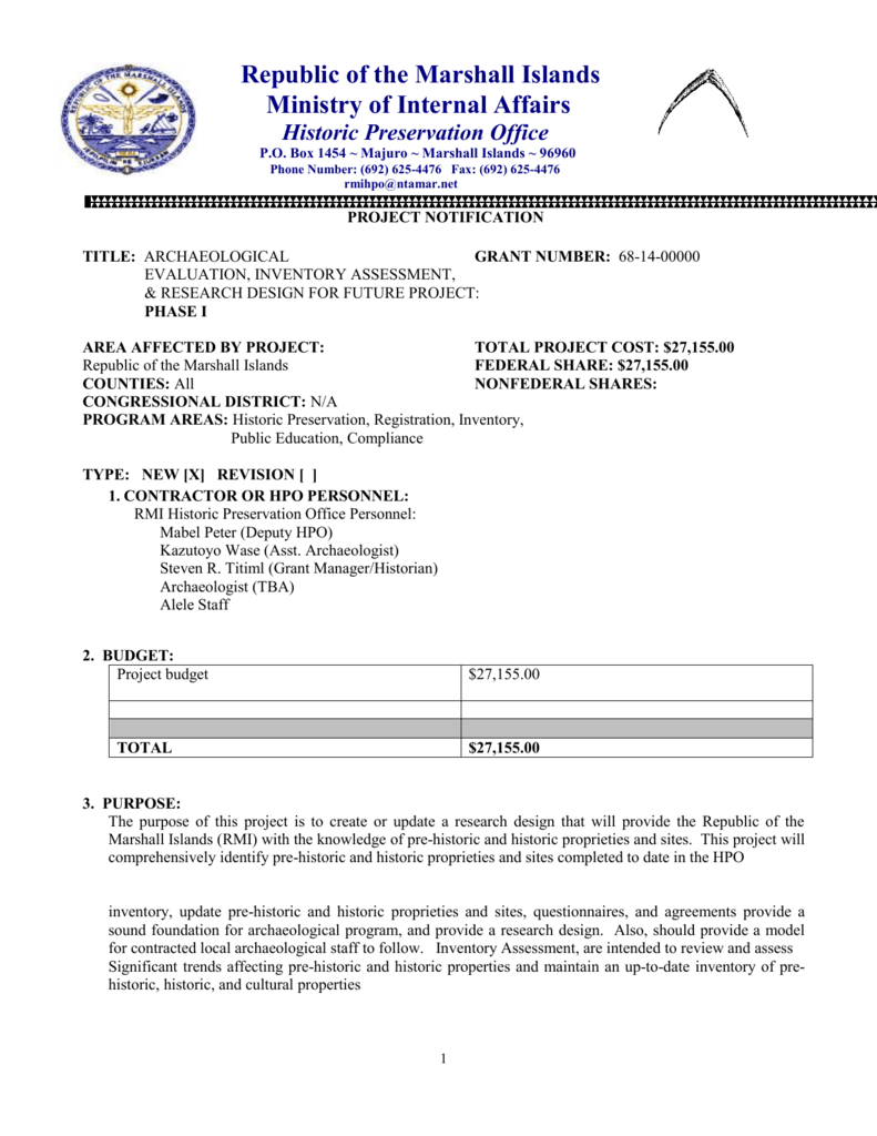 Project Notification Archaeological E,IA, RD for Future Project