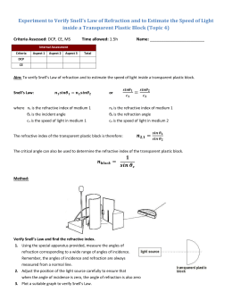 Experiment to Verify Snell`s Law of Refraction and to