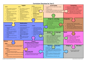Curriculum Overview for Year 5