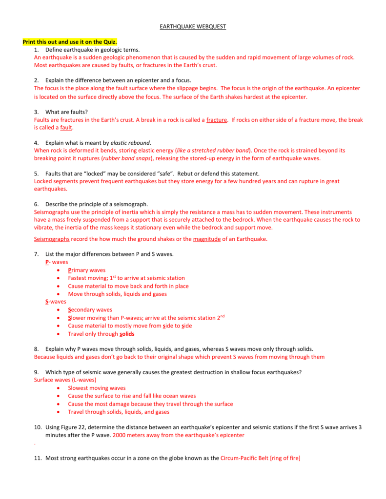 Worksheets Earthquakes And Seismic Waves Worksheet earthquake webquest print this out and use it on the quiz