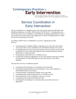 Service Coordination in Early Intervention