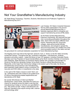 Not Your Grandfather`s Manufacturing Industry
