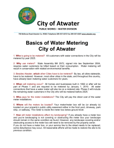 City of Atwater PUBLIC WORKS – WATER DIVISION