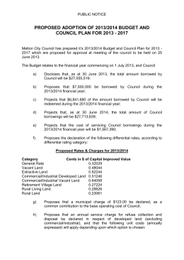 Proposed Rates & Charges for 2013/2014