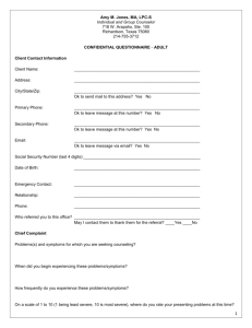 Confidential Questionnaire
