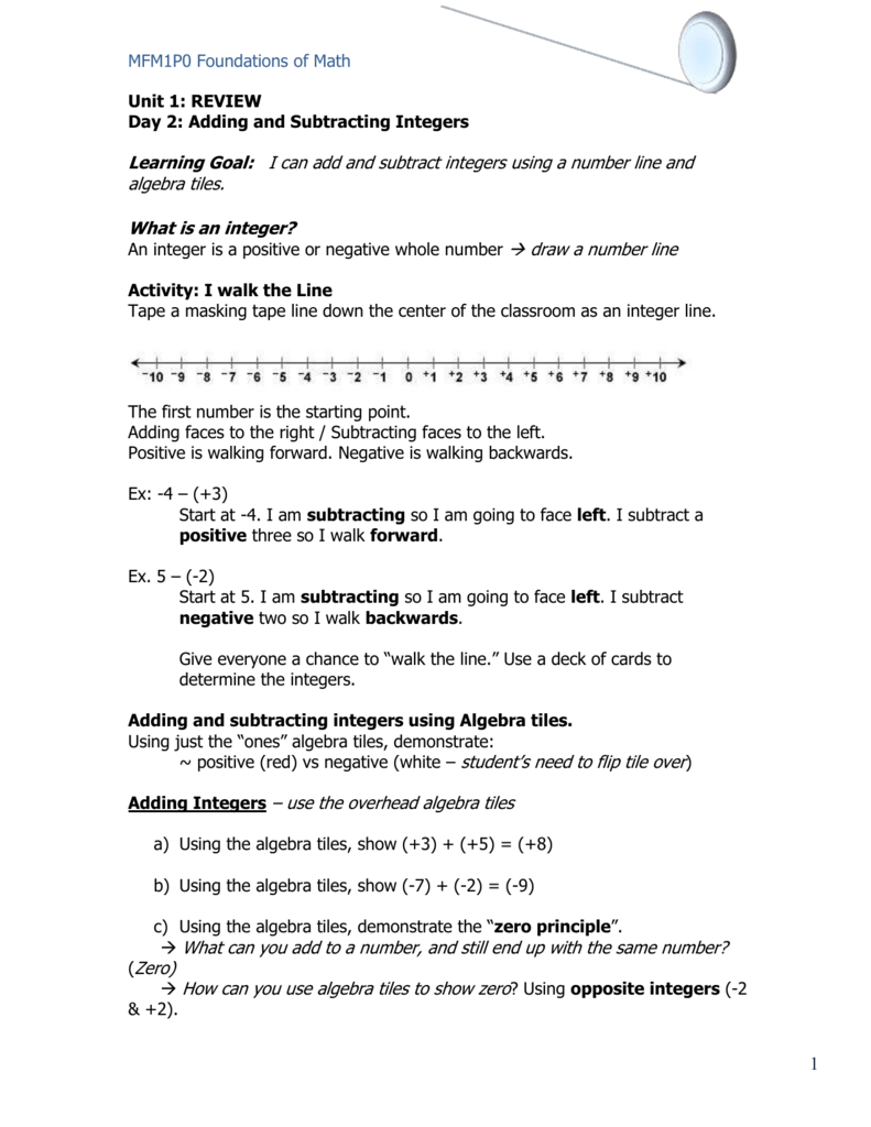 - Integers Worksheet And Note
