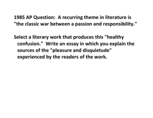"1985 AP Question: A recurring theme in literature is ""the classic war"