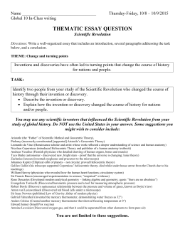 Chapter  The Scientific Revolution Development Of Scientific Thematic Essay Question Scientific Revolution Short English Essays For Students also Thesis Examples In Essays  Purchase Intention Literature Review