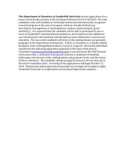The Department of Chemistry at Vanderbilt University invite s