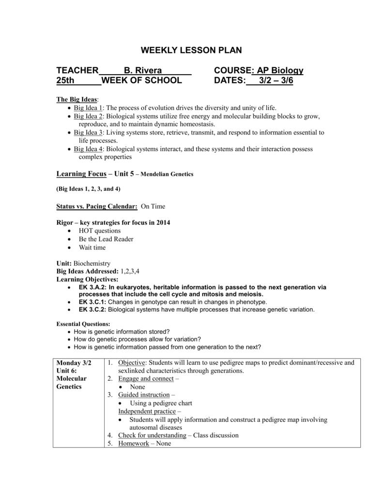 Lesson Plan - WK 25 - Mount Carmel Academy