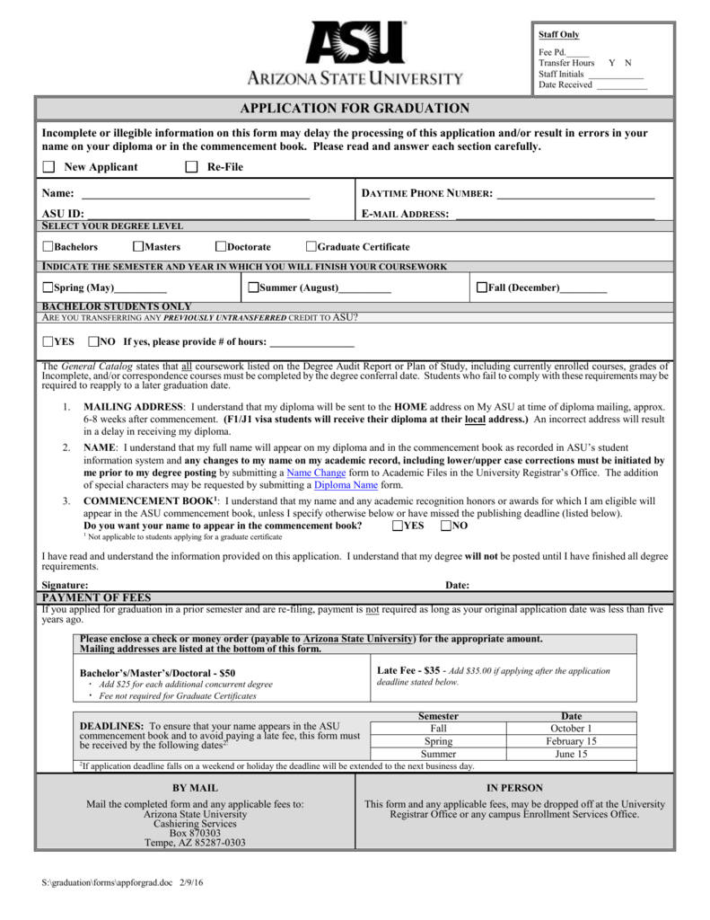 Application For Graduation Asu Students Site