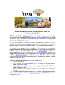 Whole Journeys Announces Three-Day Aspen Hiking and Tasting