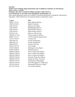 Fall 2011 Studio Classes Without Major Restrictions and Available