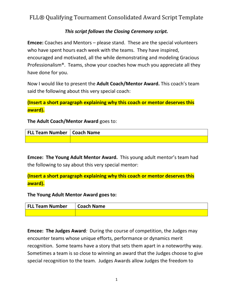 awards script template engineering education outreach
