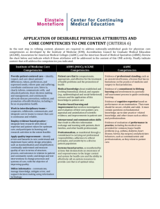 Physician Attributes and Core Competencies