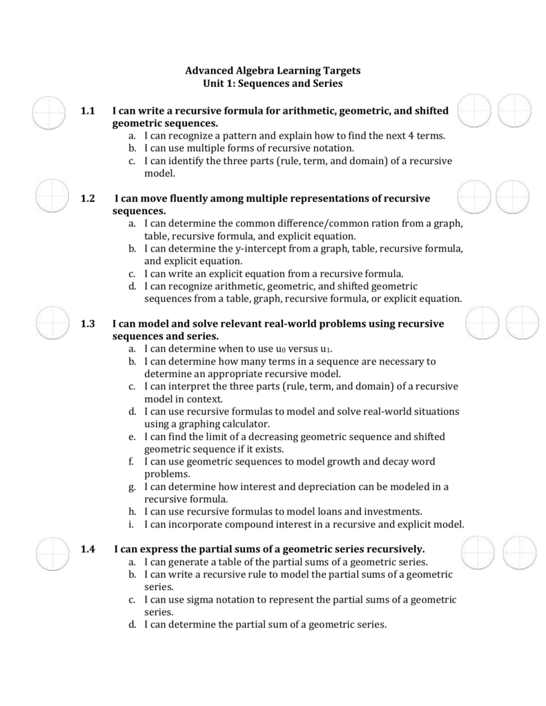 Advanced Algebra Learning Targets Unit 1 Sequences And Series