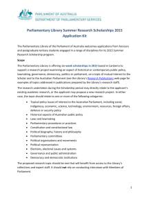 Parliamentary Library Summer Research Scholarships 2015