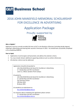 John Mansfield Memorial Scholarship for Excellence in