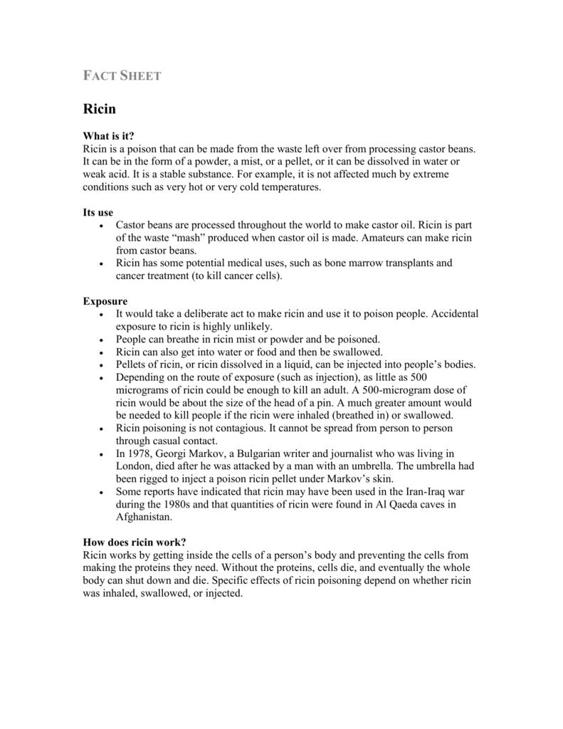 Ricin Fact Sheet